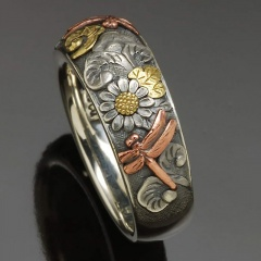 Vintage engraving dragonfly sunflower two-tone copper ring #7