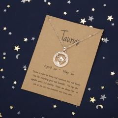 Rose gold hollow animal version twelve constellation paper card necklace Taurus