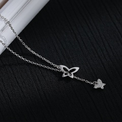 Double Butterfly Hollow Cubic Zirconia Clavicle Copper Chain Necklace (chain length 40+5cm) platinum