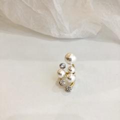 Irregular exaggerated rhinestone imitation pearl open ring gold