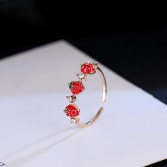 Simple strawberry enamel inlaid rhinestone open ring three  strawberrys