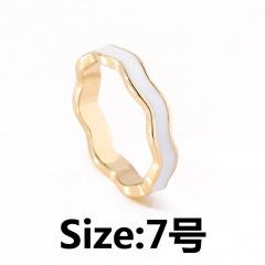 Simple ripple enamel ring (size #7) white