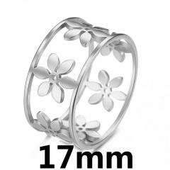 Geometric circular flower hollow ring 17mm steel