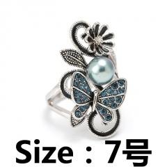 Butterfly flower imitation pearl rhinestone open ring #7