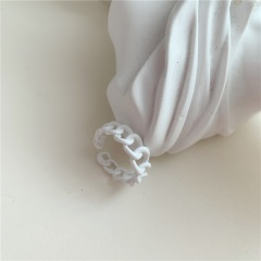 Color hollow chain irregular painting opening copper ring white 1