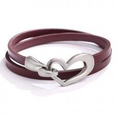 Simple  love choker leather bracelet (size 39.5cm) opp Red