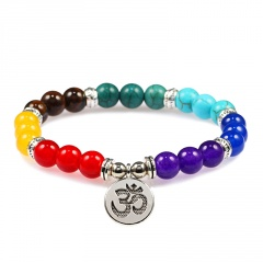 Yoga symbol pendant with seven chakra natural stone woven beaded bracelet (size Bead: 8mm, perimeter: 18cm) opp seven treasures