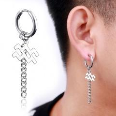 Chain twelve constellations stainless steel ear buckle ear ring men's ear hole earrings (size 1.7*5cm) opp Aquarius