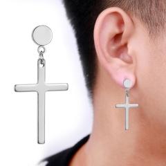 Cross chain stainless steel studs men's piercing earrings opp 1.7*4.5cm