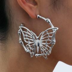 Hollow C butterfly stud white K  earrings 5.8*6.1cm