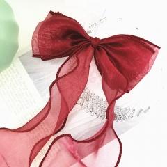 Fish tail ribbon yarn wavy bow hair pin (size 13*35cm) opp Wine red