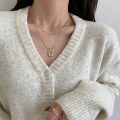 INS Quadrilateral Double Detachable Necklace Sweater Collarbone Chain  (size 45+5cm) Golden