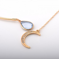 Bohemian style hollow water drop crystal moon clavicle necklace (Diameter size: 14.5cm Pendant: 9cm) gold