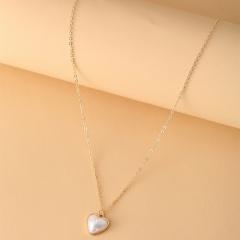 Love Imitation Pearl Necklace (Pendant size: 1.5cm, chain length: 41.5+7.5cm) gold