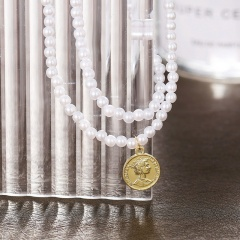 Beauty head coin imitation pearl double layer short necklace card neck chain necklace (chain length 33+7cm) gold