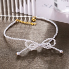 Bowknot imitation pearl short chain necklace (Chain length: 28.5+5cm) gold
