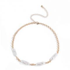 Long chain shaped imitation pearl short paragraph neck chain (chain length 35+10cm) gold