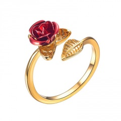 Rose flower copper open ring gold