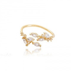 Leaf cubic zirconia open ring gold