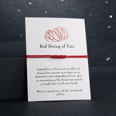 Red string of fate lucky friendship paper card bracelet (Circumference: 16-30cm, paper jam: 9.5*7cm) 1pcs