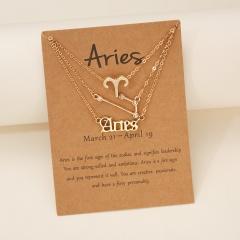 3pcs/set Symbol starry sky ancient English letter twelve constellation necklace set (chain length 41+5cm,card+opp) Aries