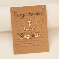 3pcs/set Symbol starry sky ancient English letter twelve constellation necklace set (chain length 41+5cm,card+opp) Sagittarius