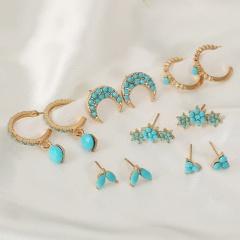 6pairs/set Turquoise moon stars leaves geometric drop-shaped retro stud earrings set 6pairs/set