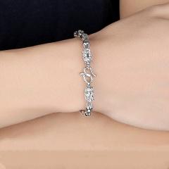 Dragon head hollow bead men's copper bracelet (Circumference: 20cm) silver