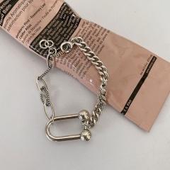 Horseshoe U-shaped chain copper bracelet (chain length 15+3cm) Ancient silver