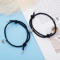 2pcs/set Couples Friend Pendant Magnet Paper Card Bracelet Set black