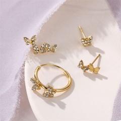 4pcs/set Butterfly Rhinestone Stud Earring Set gold