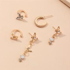 5pcs/set Butterfly Tassel Rhinestone Stud Earrings Set (size1-3cm) gold
