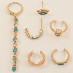 6pcs/set Blue eyes palm tassel enamel earrings set (size 1-6.6cm) gold
