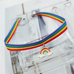 Rainbow color a two-wear bracelet clavicle necklace (size 35+5cm) rainbow
