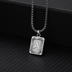26 letters square brand pendant clavicle chain necklace (Square size: 1.5*2.8cm, chain length: 46+5cm) A
