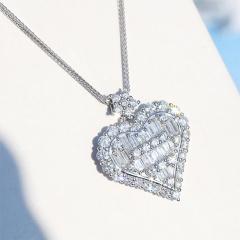 Love Cubic Zirconia Clavicle Chain Necklace (Pendant: 1.9cm, chain length: 40+5cm) sliver