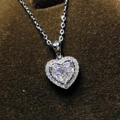 Love rhinestone simulation Moissanite cross cube zirconia clavicle chain necklace (Pendant: 1.4*1.5cm, chain length: 45cm) platinum