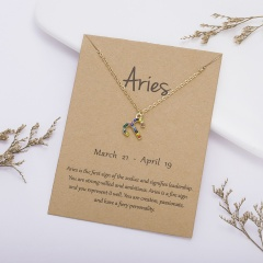 KC gold plated Colored rhinestone symbol version twelve constellation paper card necklace Aries