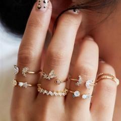 Butterfly flower rhinestone joint ring set (size 1.4-1.7cm) gold 7pcs/set