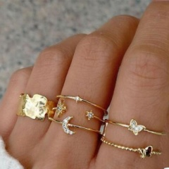 Butterfly Moon Geometric Rhinestone Joint Gold Ring Set #5-#7 6pcs/set