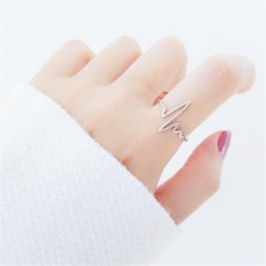 ECG wave heartbeat opening adjustable copper ring sliver