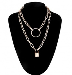 Multi-layer O-shaped chain geometric circle lock pendant necklace (chain length 40-50+5cm) gold