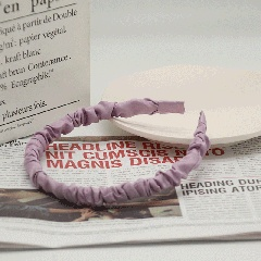 Simple pure color satin pleated headband (size 12*14cm) light purple