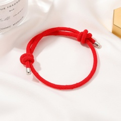Handmade thick rope knotted couple adjustable bracelet (Chain length: 16-28cm) Red