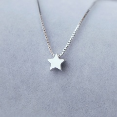 Five-pointed star pendant box chain copper clavicle necklace (chain length 40+5cm) platinum