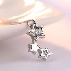 Pentagram Hollow Cubic Zirconia Pendant Copper Plated Platinum Box Chain Necklace (Pendant size: 1.5*0.9cm, chain length 45cm) platinum