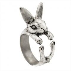 Rabbit Zodiac Open Ring Ancient silver