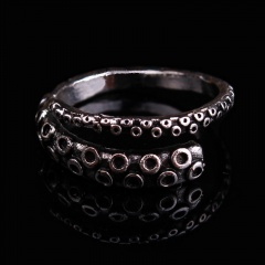 Octopus Foot Double Open Ring Ancient silver