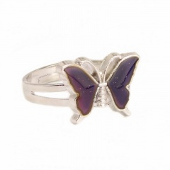 Butterfly temperature change color (8 colors variable) open ring silver