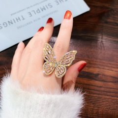 Big Butterfly Full Cubic Zirconia Open Ring gold